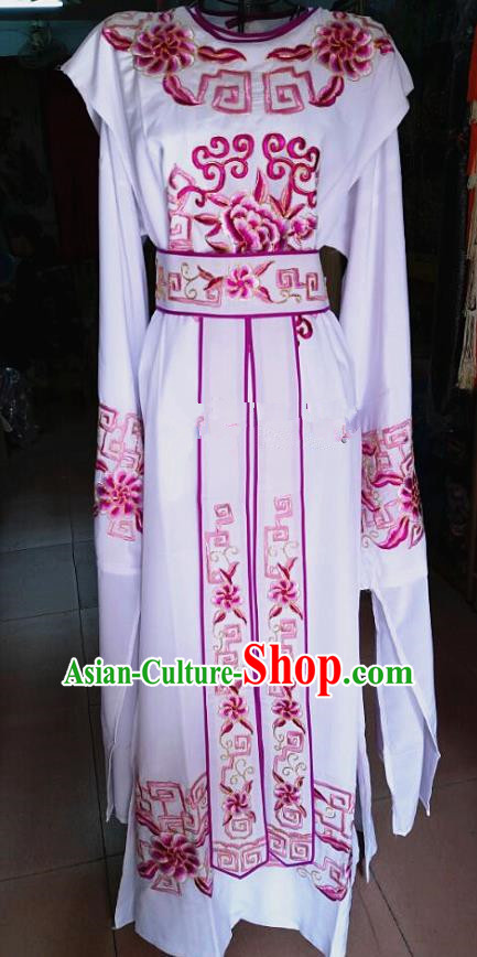 Chinese Traditional Beijing Opera Nobility Childe Costume Peking Opera Niche White Robe for Adults