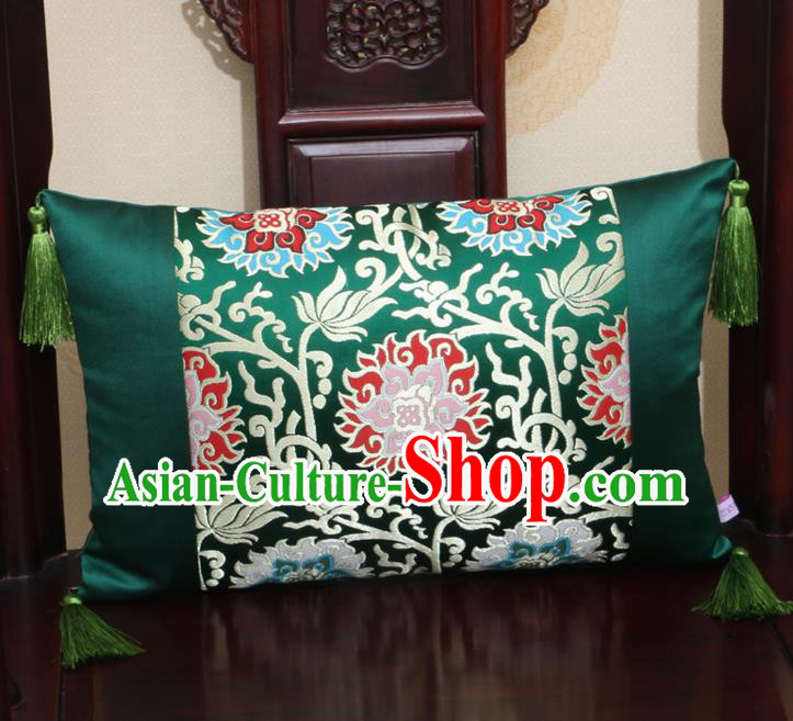Chinese Traditional Lotus Pattern Green Brocade Back Cushion Cover Classical Household Ornament