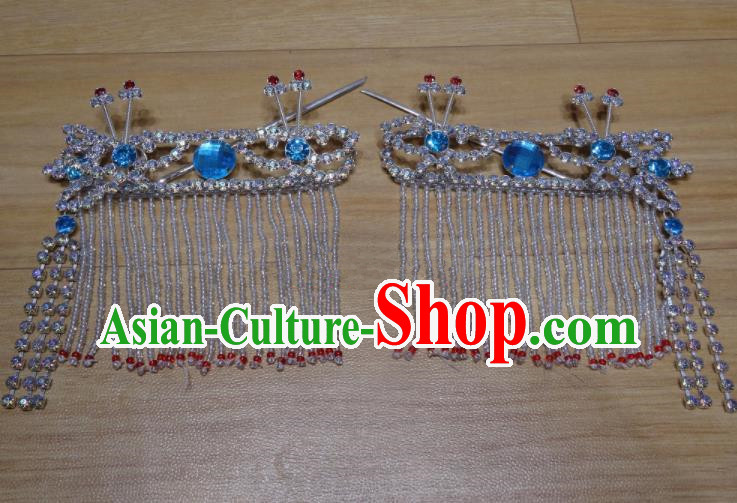 Chinese Traditional Beijing Opera Diva Sidebums Blue Tassel Hairpins Princess Hair Accessories for Adults
