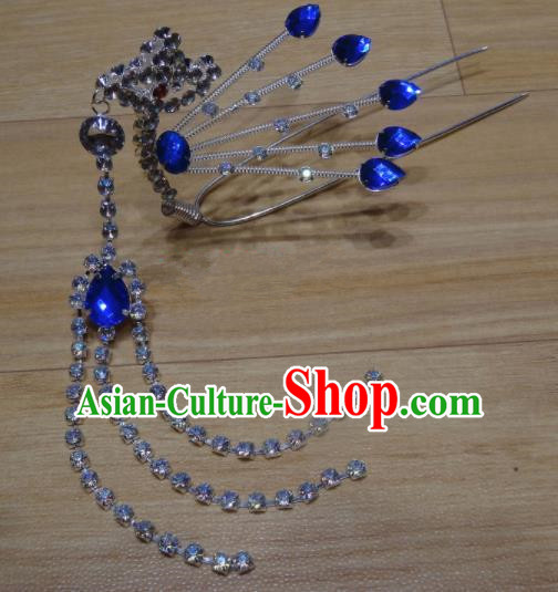 Chinese Traditional Beijing Opera Diva Royalblue Crystal Phoenix Tassel Hairpins Princess Hair Accessories for Adults
