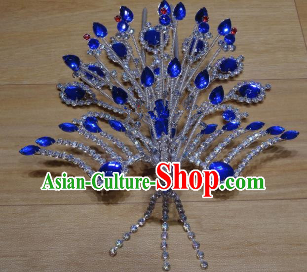 Chinese Traditional Beijing Opera Phoenix Hairpins Princess Royalblue Crystal Hair Accessories for Adults