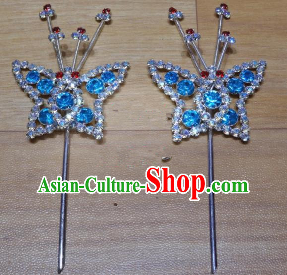 Chinese Traditional Beijing Opera Butterfly Hairpins Princess Blue Crystal Hair Accessories for Adults
