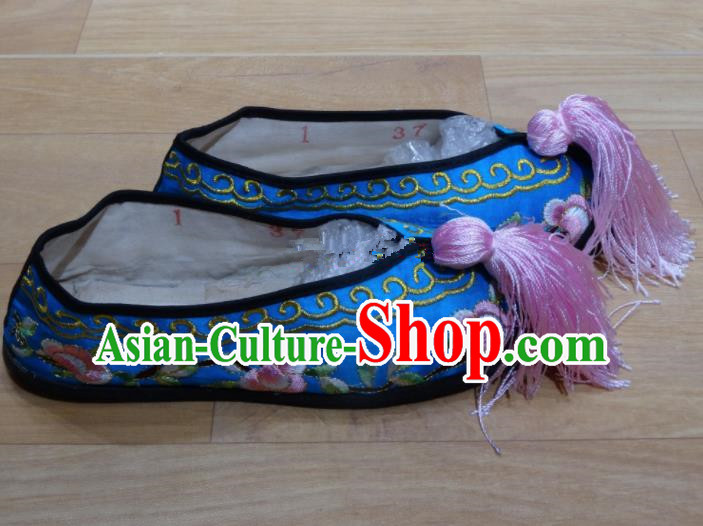 Chinese Traditional Beijing Opera Diva Embroidered Shoes Princess Blue Shoes for Adults
