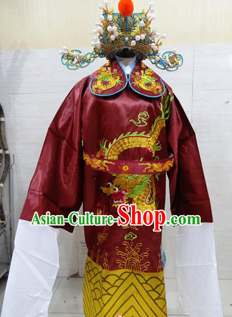 Chinese Traditional Beijing Opera Prime Minister Red Embroidered Robe Peking Opera Old Men Costume for Adults