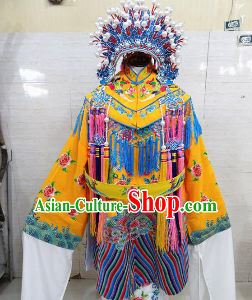 Chinese Traditional Beijing Opera Actress Yellow Embroidered Dress Peking Opera Imperial Concubine Costume for Adults