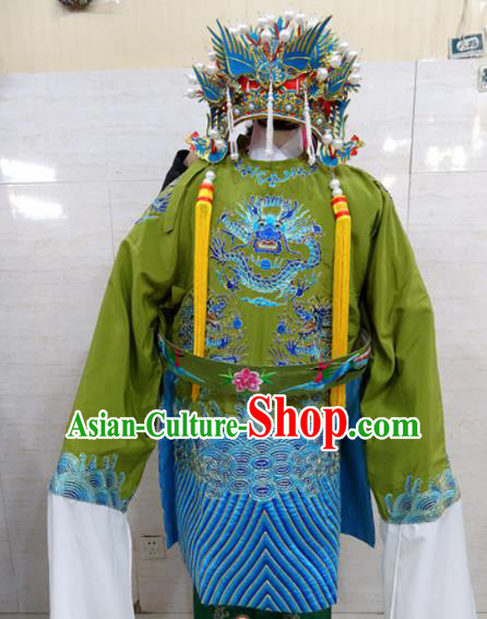 Chinese Traditional Beijing Opera Old Female Green Embroidered Robe Peking Opera Costume for Adults