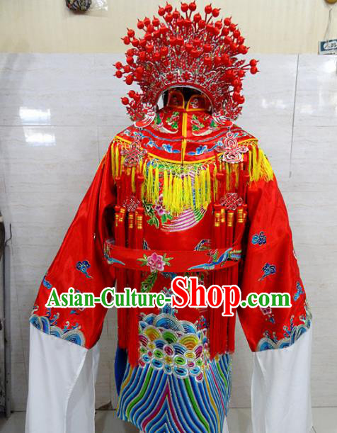 Chinese Traditional Beijing Opera Actress Red Embroidered Robe Peking Opera Queen Costume for Adults
