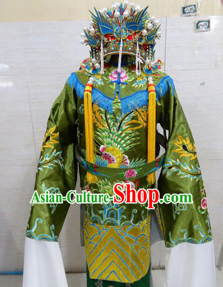 Chinese Traditional Beijing Opera Old Female Green Embroidered Phoenix Robe Peking Opera Costume for Adults