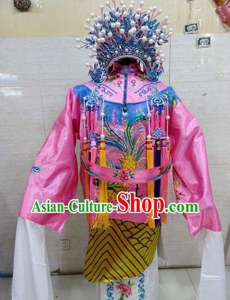Chinese Traditional Beijing Opera Old Female Pink Embroidered Phoenix Robe Peking Opera Costume for Adults