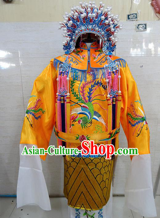 Chinese Traditional Beijing Opera Queen Golden Embroidered Phoenix Robe Peking Opera Costume for Adults