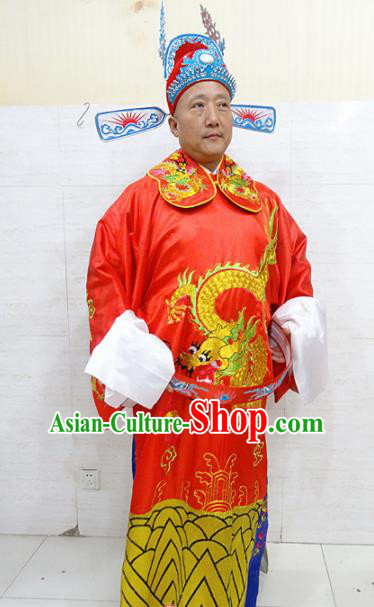 Chinese Traditional Beijing Opera Niche Red Robe Peking Opera Bridegroom Costume for Adults