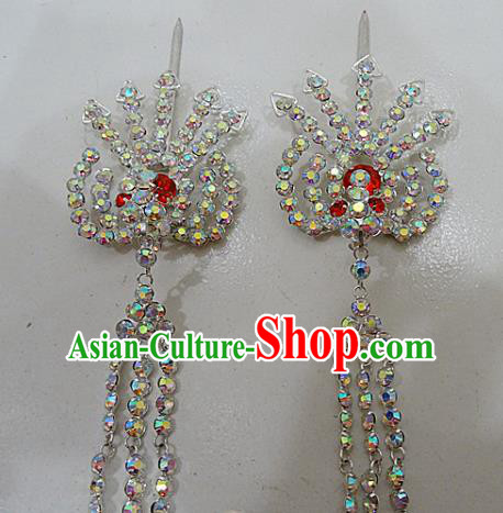 Chinese Traditional Beijing Opera Crystal Phoenix Tassel Hairpins Princess Hair Accessories for Adults