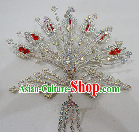 Chinese Traditional Beijing Opera Diva Crystal Phoenix Hairpins Princess Hair Clip Hair Accessories for Adults