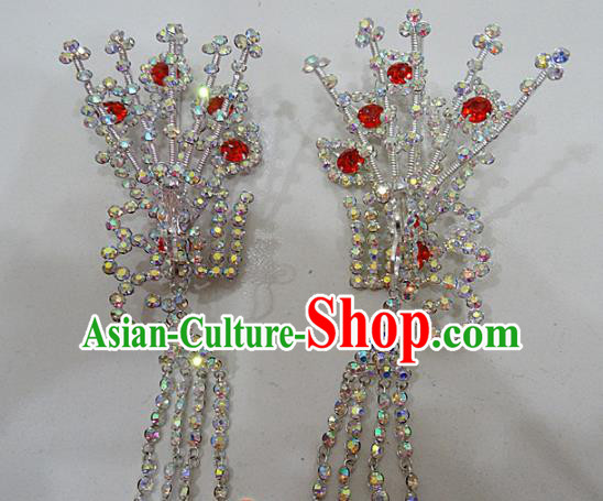 Chinese Traditional Beijing Opera Diva Hairpins Princess Crystal Phoenix Hair Clip Hair Accessories for Adults
