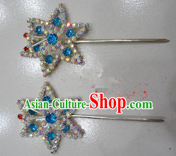 Chinese Traditional Beijing Opera Diva Blue Crystal Hexagon Hairpins Princess Hair Clip Hair Accessories for Adults
