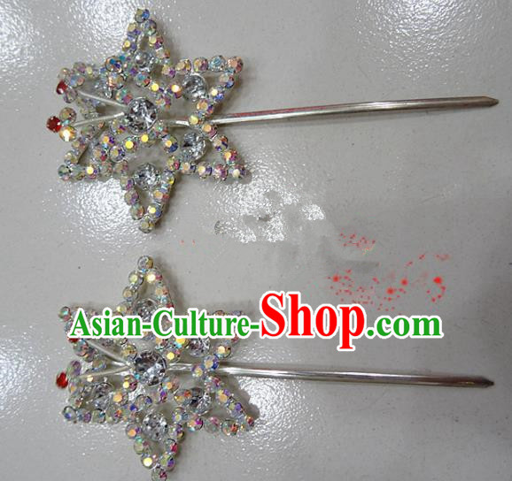 Chinese Traditional Beijing Opera Diva Crystal Hexagon Hairpins Princess Hair Clip Hair Accessories for Adults
