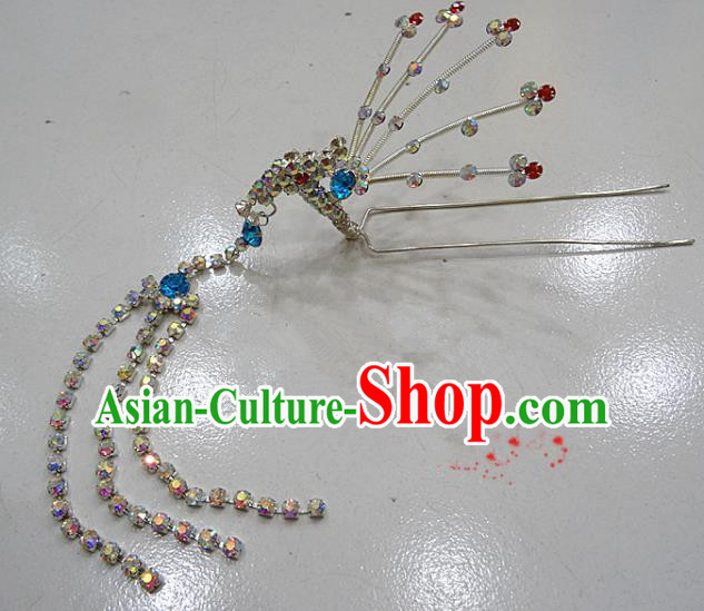 Chinese Traditional Beijing Opera Diva Blue Crystal Phoenix Hairpins Princess Tassel Hair Clip Hair Accessories for Adults