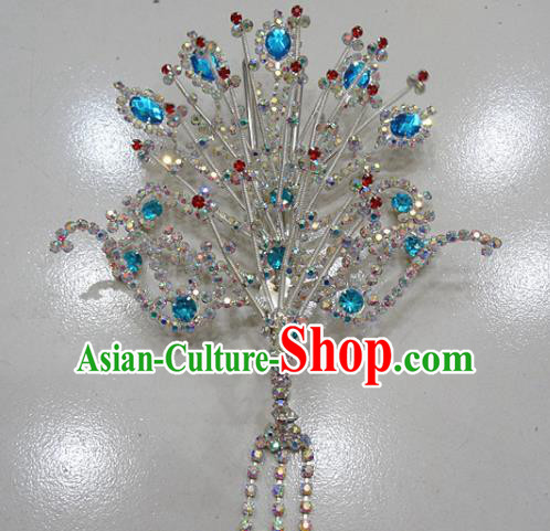 Chinese Traditional Beijing Opera Queen Phoenix Hairpins Princess Blue Crystal Tassel Hair Clip for Adults