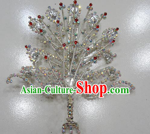 Chinese Traditional Beijing Opera Queen Phoenix Hairpins Princess Crystal Tassel Hair Clip for Adults