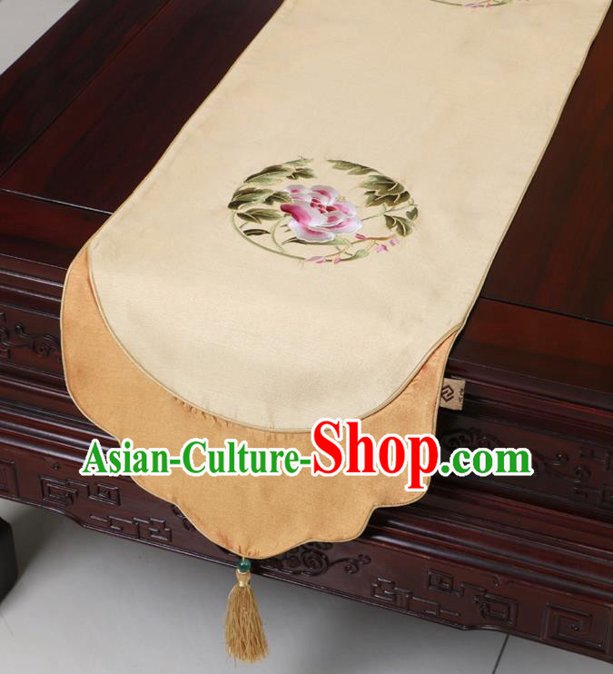 Chinese Traditional Embroidered Peony Beige Brocade Table Cloth Classical Satin Household Ornament Table Flag
