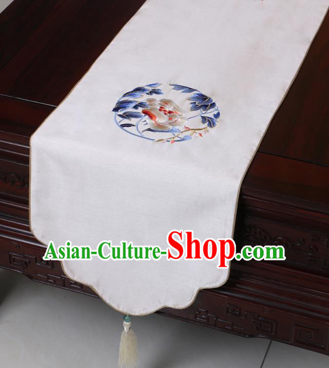 Chinese Traditional Embroidered Peony White Brocade Table Cloth Classical Satin Household Ornament Table Flag