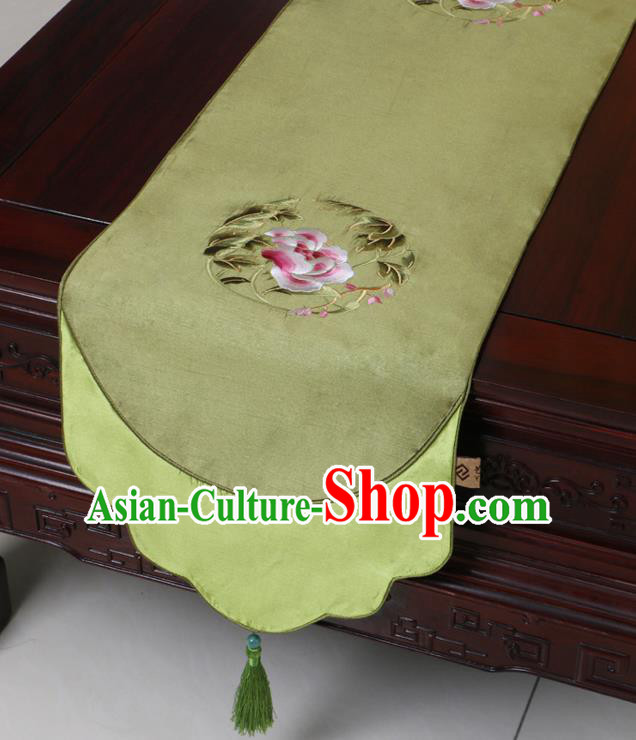 Chinese Traditional Embroidered Peony Olive Green Brocade Table Cloth Classical Satin Household Ornament Table Flag