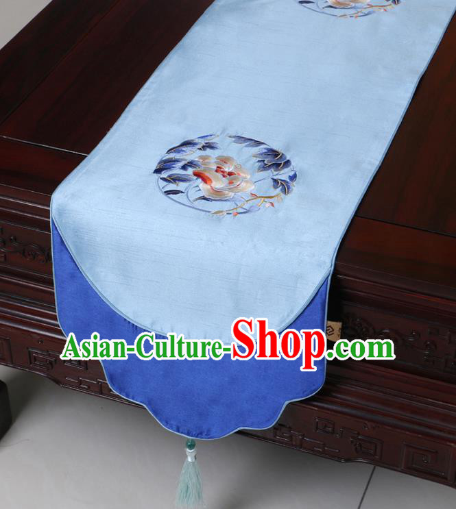 Chinese Traditional Embroidered Peony Blue Brocade Table Cloth Classical Satin Household Ornament Table Flag