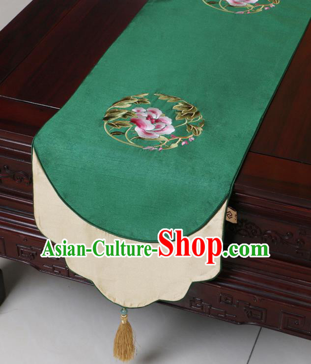 Chinese Traditional Embroidered Peony Green Brocade Table Cloth Classical Satin Household Ornament Table Flag
