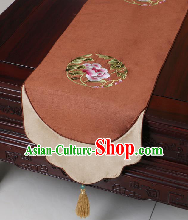 Chinese Traditional Embroidered Peony Brown Brocade Table Cloth Classical Satin Household Ornament Table Flag