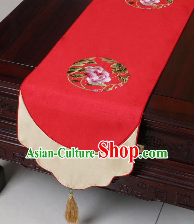 Chinese Traditional Embroidered Peony Red Brocade Table Cloth Classical Satin Household Ornament Table Flag