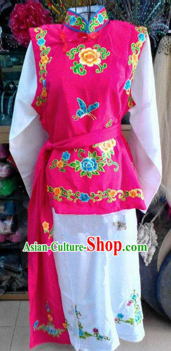 Chinese Traditional Beijing Opera Maidservants Rosy Dress Peking Opera Young Lady Costume for Adults