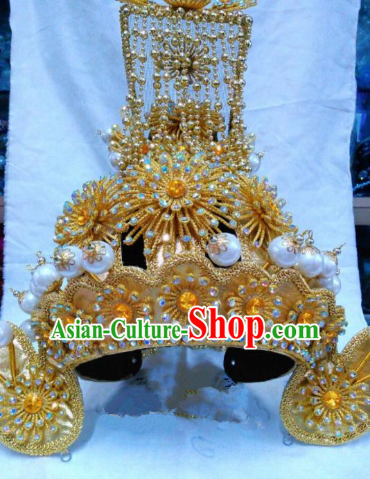 Chinese Traditional Beijing Opera Emperor Hat Peking Opera General Golden Helmet for Adults