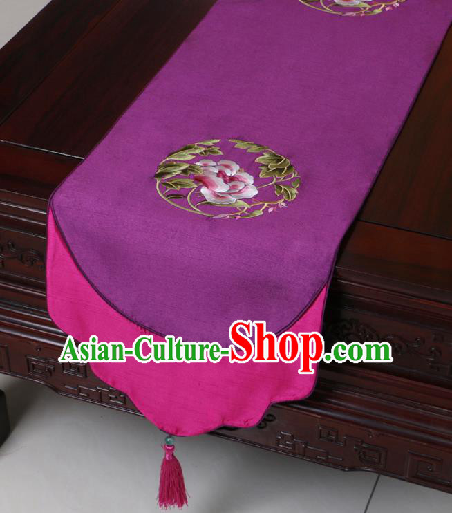Chinese Traditional Embroidered Peony Purple Brocade Table Cloth Classical Satin Household Ornament Table Flag