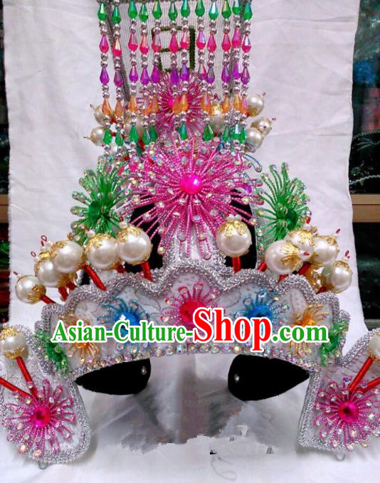 Chinese Traditional Beijing Opera Emperor Hat Peking Opera General Colorful Helmet for Adults