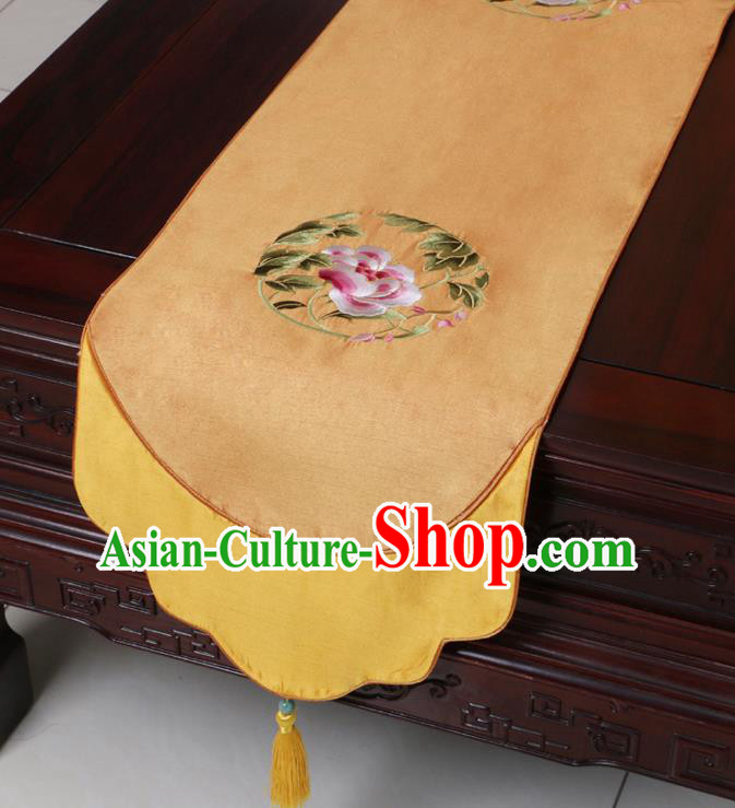 Chinese Traditional Embroidered Peony Golden Brocade Table Cloth Classical Satin Household Ornament Table Flag