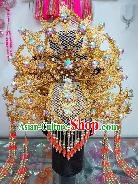 Chinese Traditional Beijing Opera Golden Phoenix Coronet Queen Hair Accessories for Adults