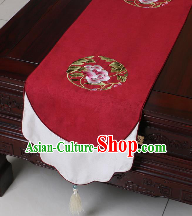 Chinese Traditional Embroidered Peony Wine Red Brocade Table Cloth Classical Satin Household Ornament Table Flag