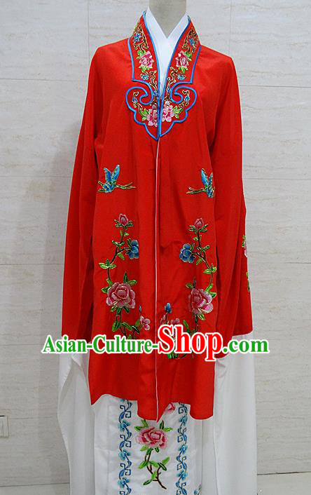 Chinese Traditional Beijing Opera Embroidered Peony Red Dress Peking Opera Diva Costume for Adults
