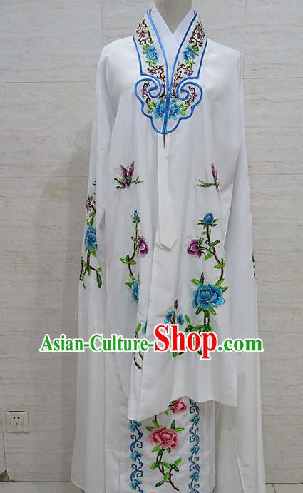 Chinese Traditional Beijing Opera Embroidered Peony White Dress Peking Opera Diva Costume for Adults
