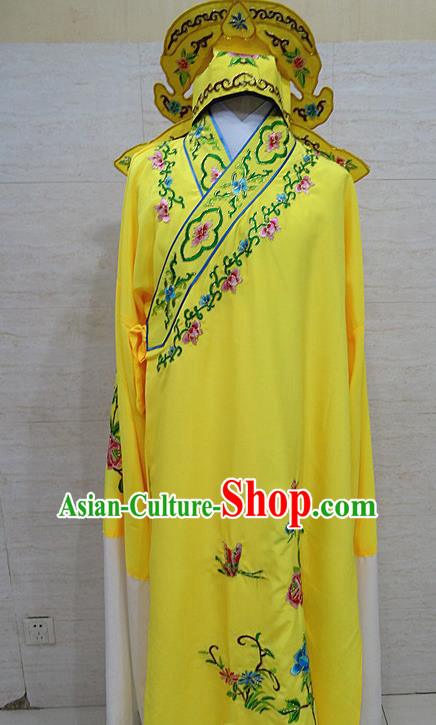 Professional Chinese Beijing Opera Niche Embroidered Peony Yellow Robe Traditional Peking Opera Scholar Costume for Adults