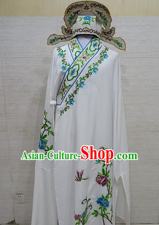 Professional Chinese Beijing Opera Niche Embroidered Peony White Robe Traditional Peking Opera Scholar Costume for Adults