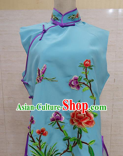 Chinese Traditional Beijing Opera Embroidered Peony Blue Waistcoat Peking Opera Maidservants Costume for Adults
