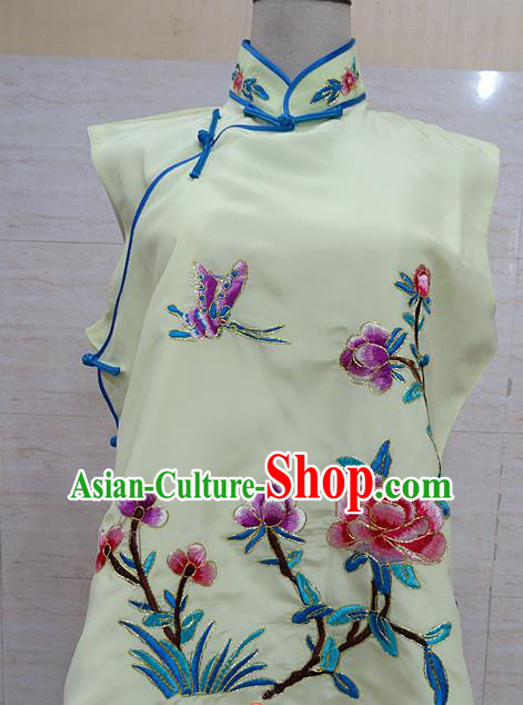 Chinese Traditional Beijing Opera Embroidered Peony Yellow Waistcoat Peking Opera Maidservants Costume for Adults
