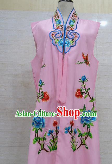 Chinese Traditional Beijing Opera Maidservants Pink Embroidered Peony Waistcoat Peking Opera Costume for Adults