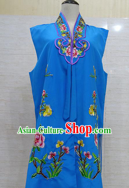 Chinese Traditional Beijing Opera Maidservants Royalblue Embroidered Peony Waistcoat Peking Opera Costume for Adults