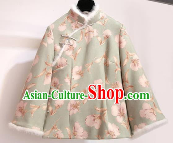 Chinese Traditional Costume Tang Suit Green Cotton Wadded Jacket Cheongsam Upper Outer Garment for Women