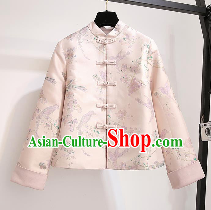 Chinese Traditional Costume Tang Suit Pink Jacket Cheongsam Upper Outer Garment for Women