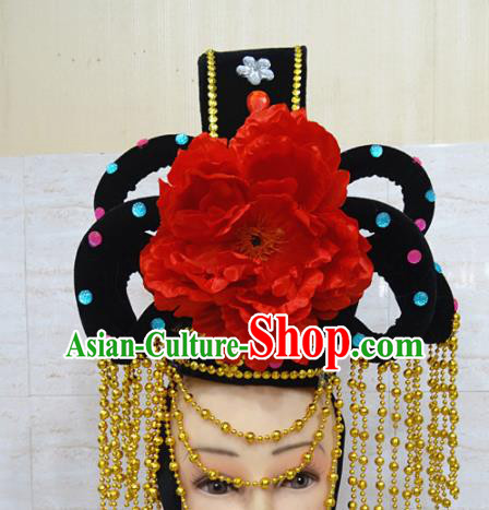 Chinese Traditional Beijing Opera Actress Hair Accessories Ancient Peri Red Peony Hairpins and Wigs for Adults