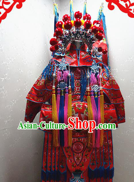 Chinese Traditional Beijing Opera Female General Red Embroidered Clothing Peking Opera Mu Guiying Costume for Adults
