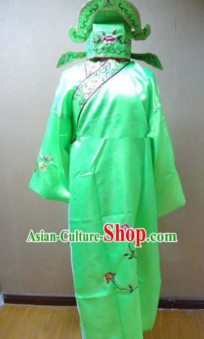 Professional Chinese Traditional Beijing Opera Niche Green Robe Ancient Scholar Embroidered Peony Costume for Adults